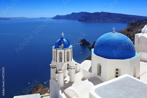 Santorini with Traditional Church in Oia, Greece
