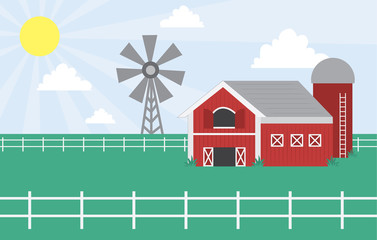 Cartoon farm with barn and windmill