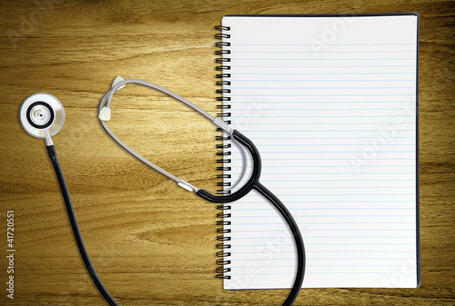 blank notebook stethoscope