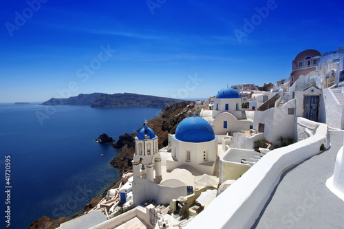 Santorini with Traditional Churches in Oia, Greece - 41720595