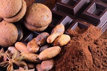 Cacao, fave di cacao, cioccolato e anice