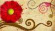 old style decorative backdrop with growing paint flowers