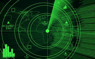 A green radar with a world map