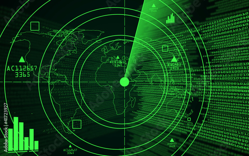 A green radar with a world map