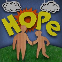 Hope Cardboard Diorama Word People Holding Hands