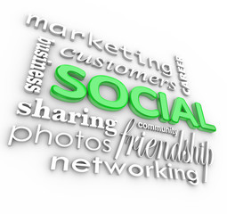 Social 3d Words Background Community Business Marketing