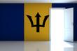 Barbados flag on empty room