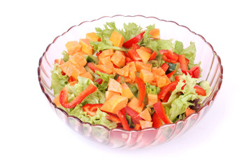Fruit and vegetable salad on white
