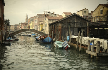 Along an unknown canal in Venice, Italy