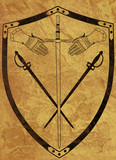 Ancient Shield of Arms on Brown Crackled Surface