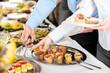Leinwandbild Motiv Snacks buffet at business company meeting