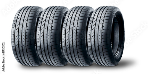 Set of Summer tire on white background