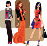 three fashion women
