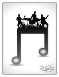 Musical note having on disco orchestra silhouette poster