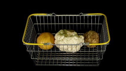 Women's hands are placed products in the basket