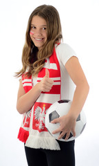 Teenage girl soccer fan with thumb up