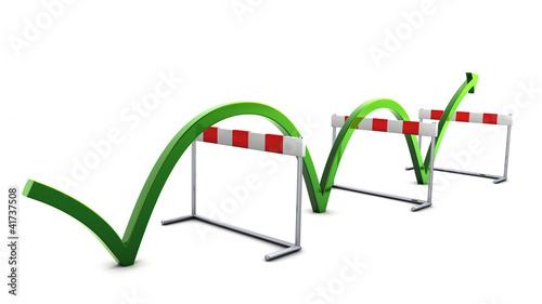 Pfeil springt über Hürden