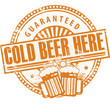 Stamp, Beer Mugs and text Cold Beer Here Guaranteed