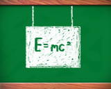 E=mc² Albert Einsteins on blackboard