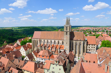 St. James's Church and the Cityscape of Rothenburg, Germany