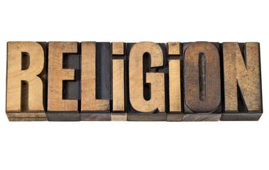religion word in vintage wood type