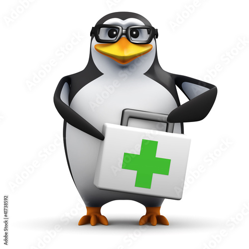 3d Penguin in glasses holds a medical kit