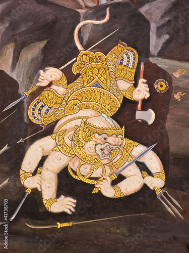 Hanuman, Mural painting in Thai royal temple, Ramayana