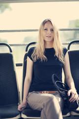 Beautiful woman inside a train