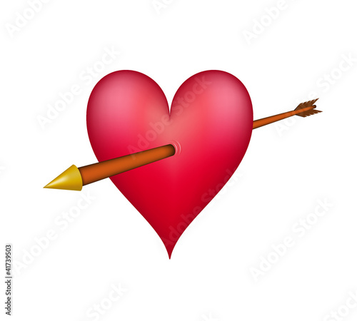 Red heart pierced by an golden arrow