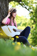 Young woman playing guitar in park