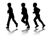 silhouettes of boy running