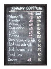 sheep coffee menu on blackboard