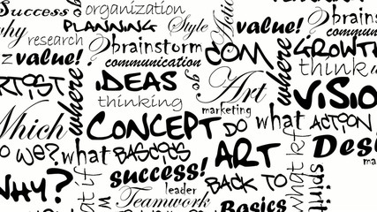 Black and white ideas words cartoon tag cloud animation video