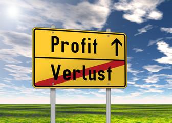 "Ortsschild ""Profit / Verlust"""