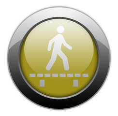 "Yellow Metallic Orb Button ""Walk On Boardwalk"""