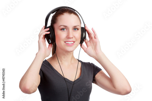 Smiling girl listening to music