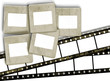 Vintage blank film stripes and blank old slide photo frames on w