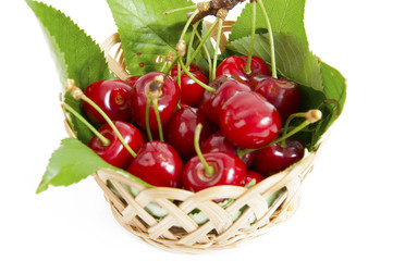 red cherries with leaves