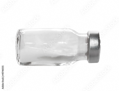 Blank Medical  ampoule with white chemicals ampoules isolated