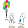 Geschäftsleute, Luftballons, Neid, Konkurrenz