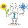 Geschäftsmann, Sonnenblume, Windrad