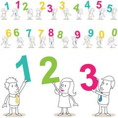Geschäftsleute, Zahlen, bunt, jede Zahl zweifach
