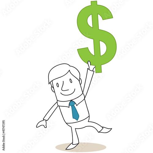 Geschäftsmann, Dollar-Zeichen