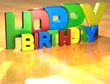 Word Happy Birthday on yellow background