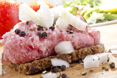 Mett with onion and pepper on rye bread