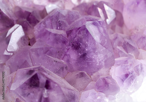 Amethyst crystal gem stone  close-up