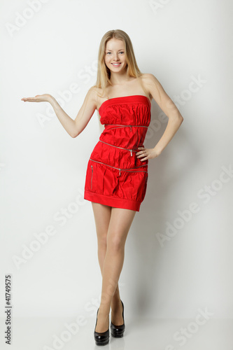 Full length of woman holding blank copy space on palm