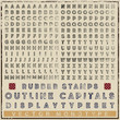 Rubber stamps outline display capitals typeset