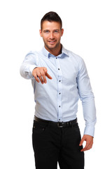 young businessman pointing at you