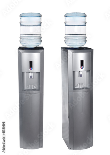 Grey water cooler isolated on white